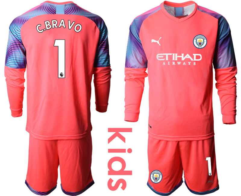 2019-20 Manchester City 1 C.BRAVO Pink Goalkeeper Youth Long Sleeve Soccer Jersey
