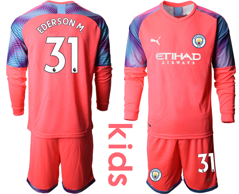 2019-20 Manchester City 31 EDERSON M. Pink Goalkeeper Youth Long Sleeve Soccer Jersey
