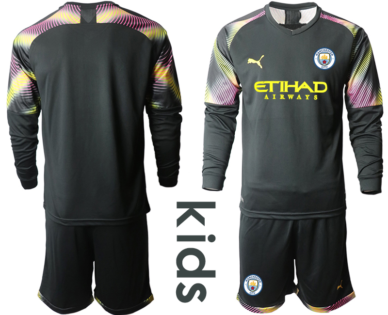 2019-20 Manchester City Black Goalkeeper Youth Long Sleeve Soccer Jersey
