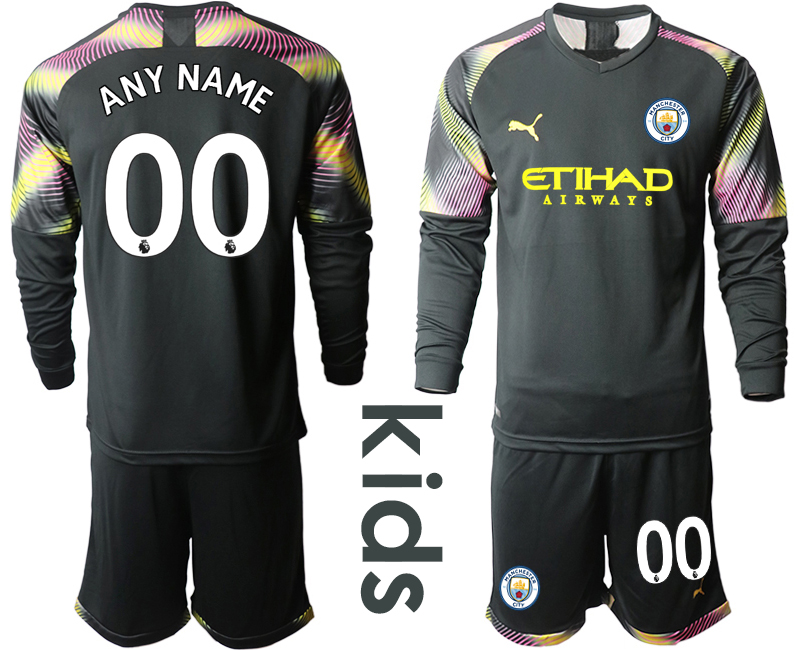 2019-20 Manchester City Customized Black Goalkeeper Youth Long Sleeve Soccer Jersey