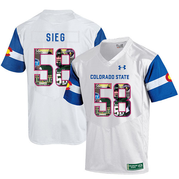 Colorado State Rams 58 Trent Sieg White Fashion College Football Jersey