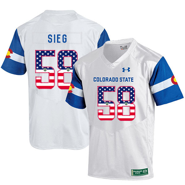 Colorado State Rams 58 Trent Sieg White USA Flag College Football Jersey