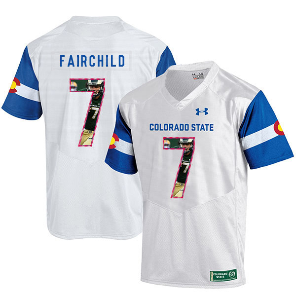 Colorado State Rams 7 Steve Fairchild White Fashion College Football Jersey