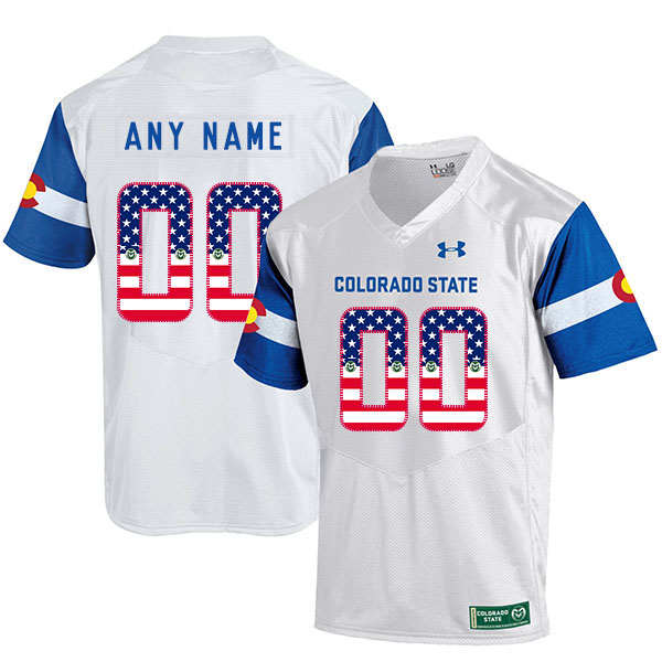 Colorado State Rams Customized White College Football Jersey