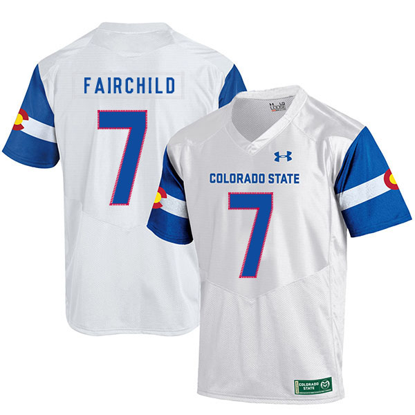Colorado State Rams 7 Steve Fairchild White College Football Jersey