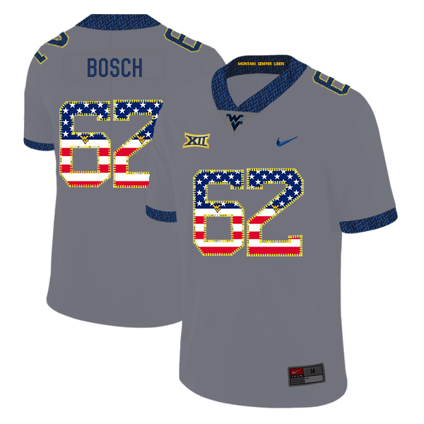West Virginia Mountaineers 62 Kyle Bosch Gray USA Flag College Football Jersey