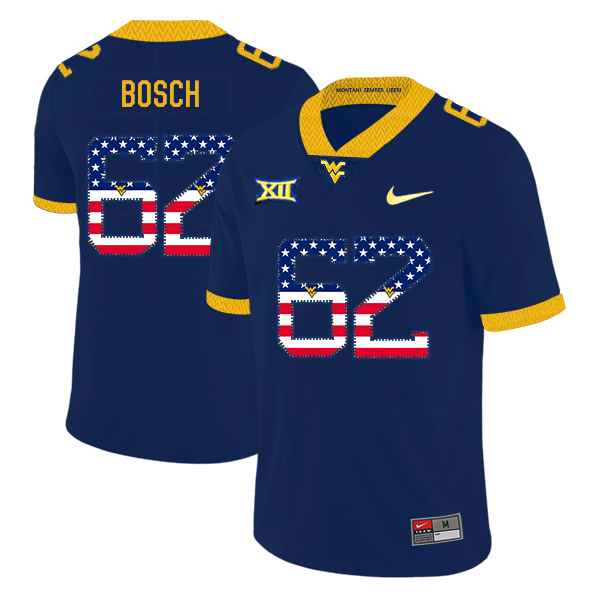 West Virginia Mountaineers 62 Kyle Bosch Navy USA Flag College Football Jersey