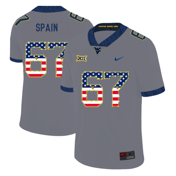 West Virginia Mountaineers 67 Quinton Spain Gray USA Flag College Football Jersey