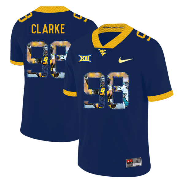 West Virginia Mountaineers 98 Will Clarke Navy Fashion College Football Jersey