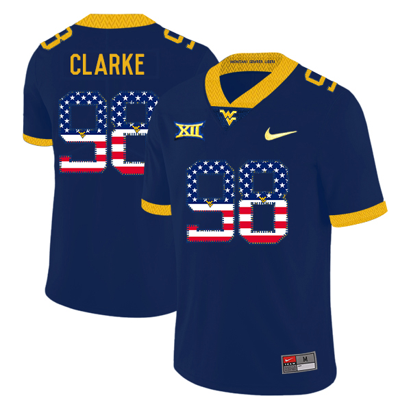 West Virginia Mountaineers 98 Will Clarke Navy USA Flag College Football Jersey