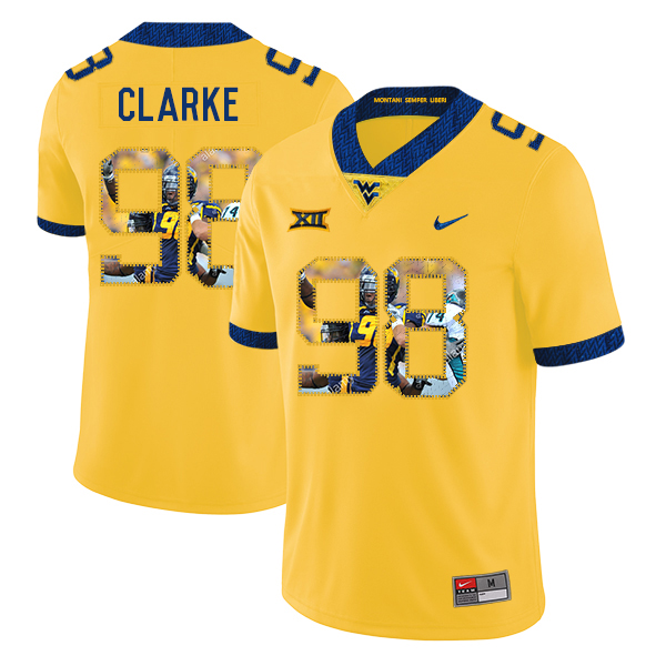 West Virginia Mountaineers 98 Will Clarke Yellow Fashion College Football Jersey