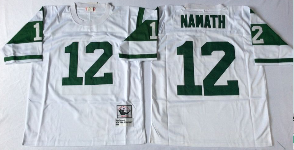 Jets 12 Joe Namath White M&N Throwback Jersey