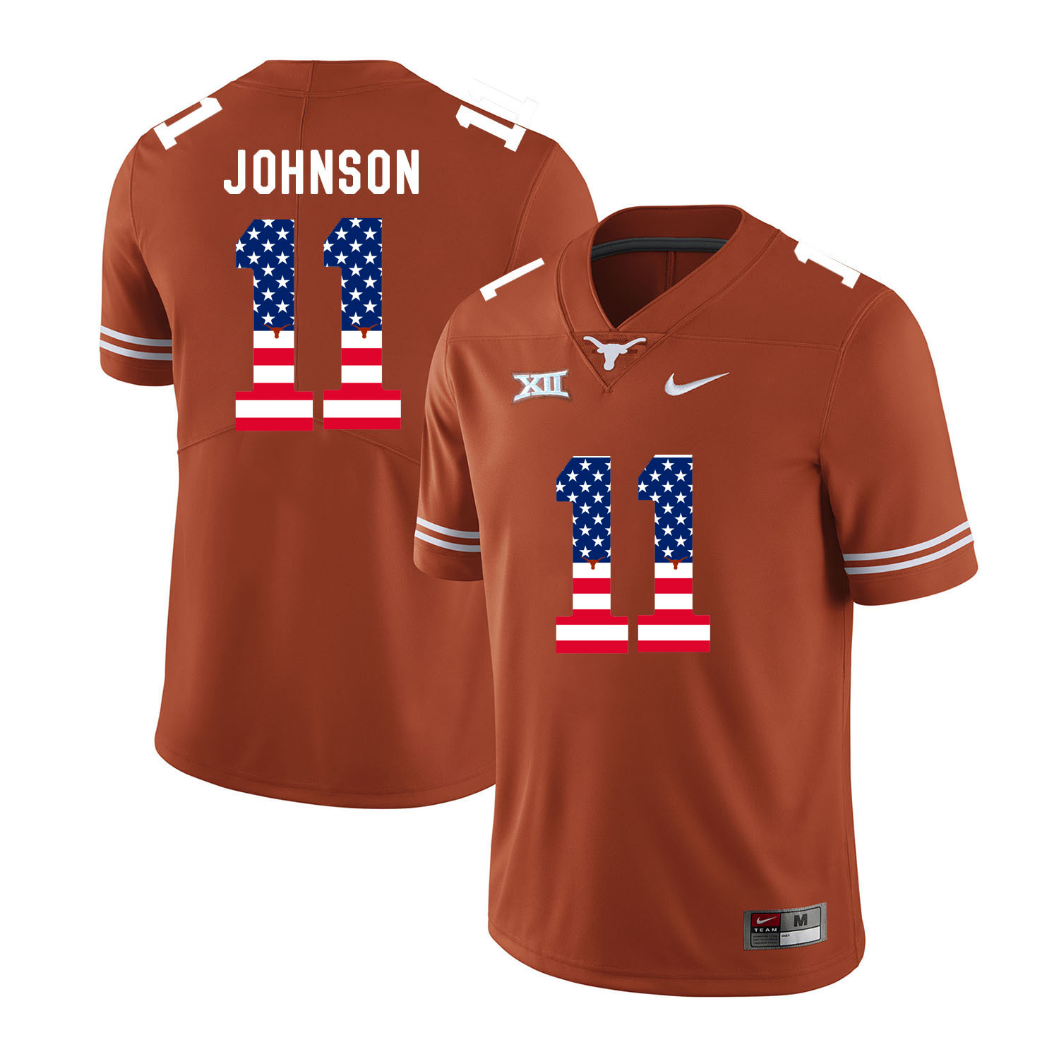 Texas Longhorns 11 Derrick Johnson Orange USA Flag Nike College Football Jersey