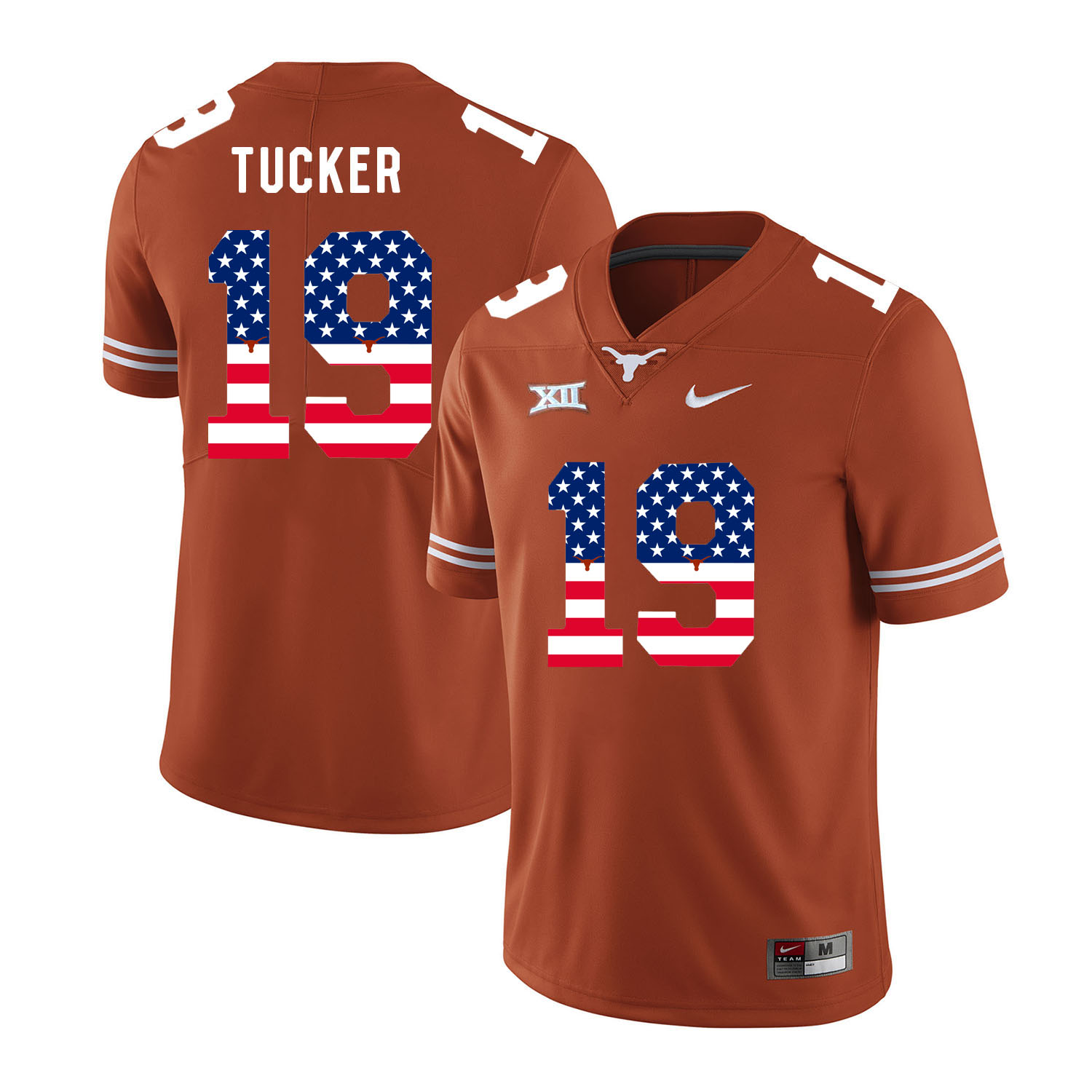 Texas Longhorns 19 Justin Tucker Orange USA Flag Nike College Football Jersey