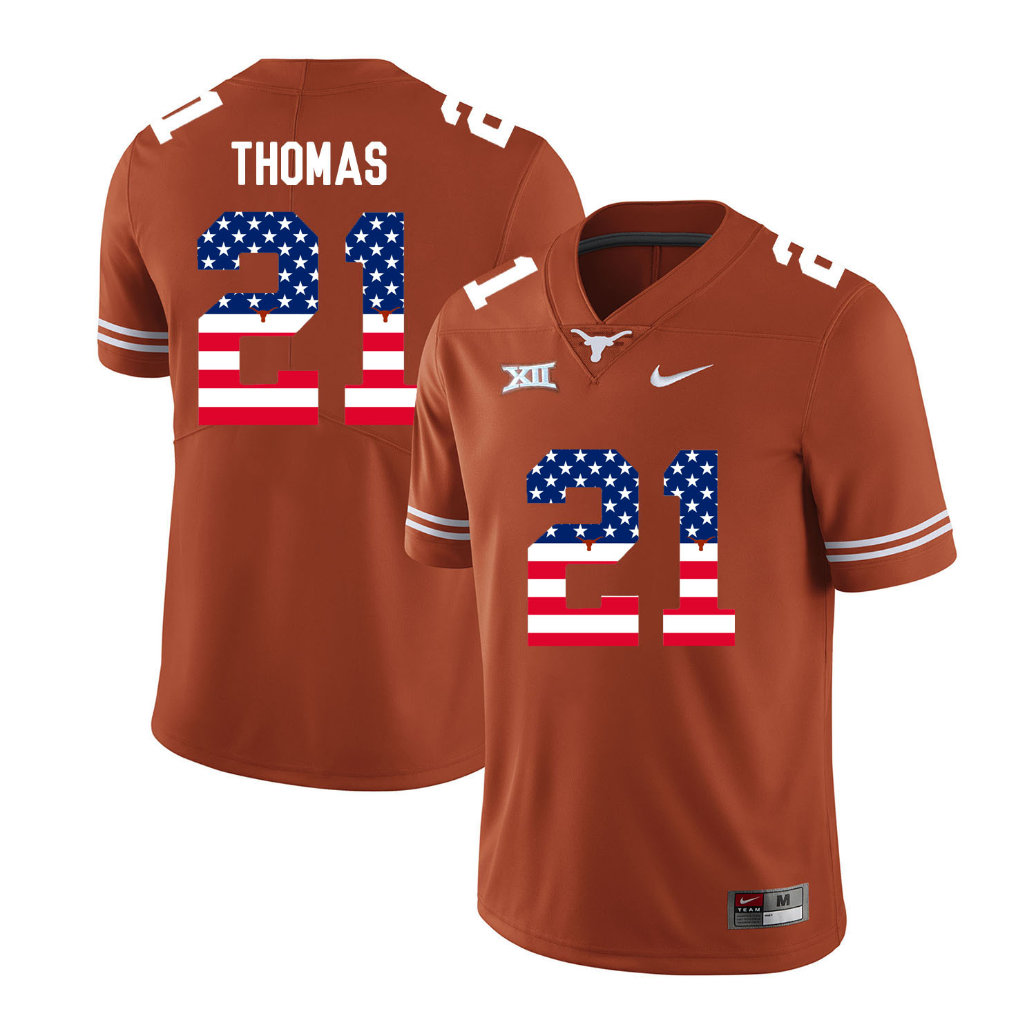 Texas Longhorns 21 Duke Thomas Orange USA Flag Nike College Football Jersey