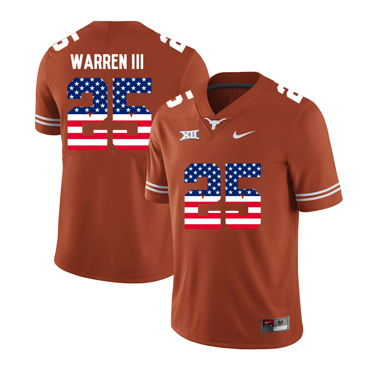 Texas Longhorns 25 Chris Warren III Orange USA Flag Nike College Football Jersey