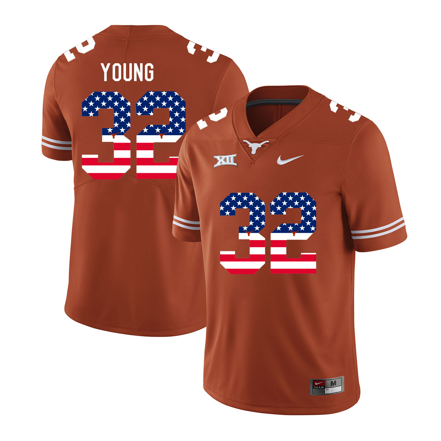 Texas Longhorns 32 Daniel Young Orange USA Flag Nike College Football Jersey