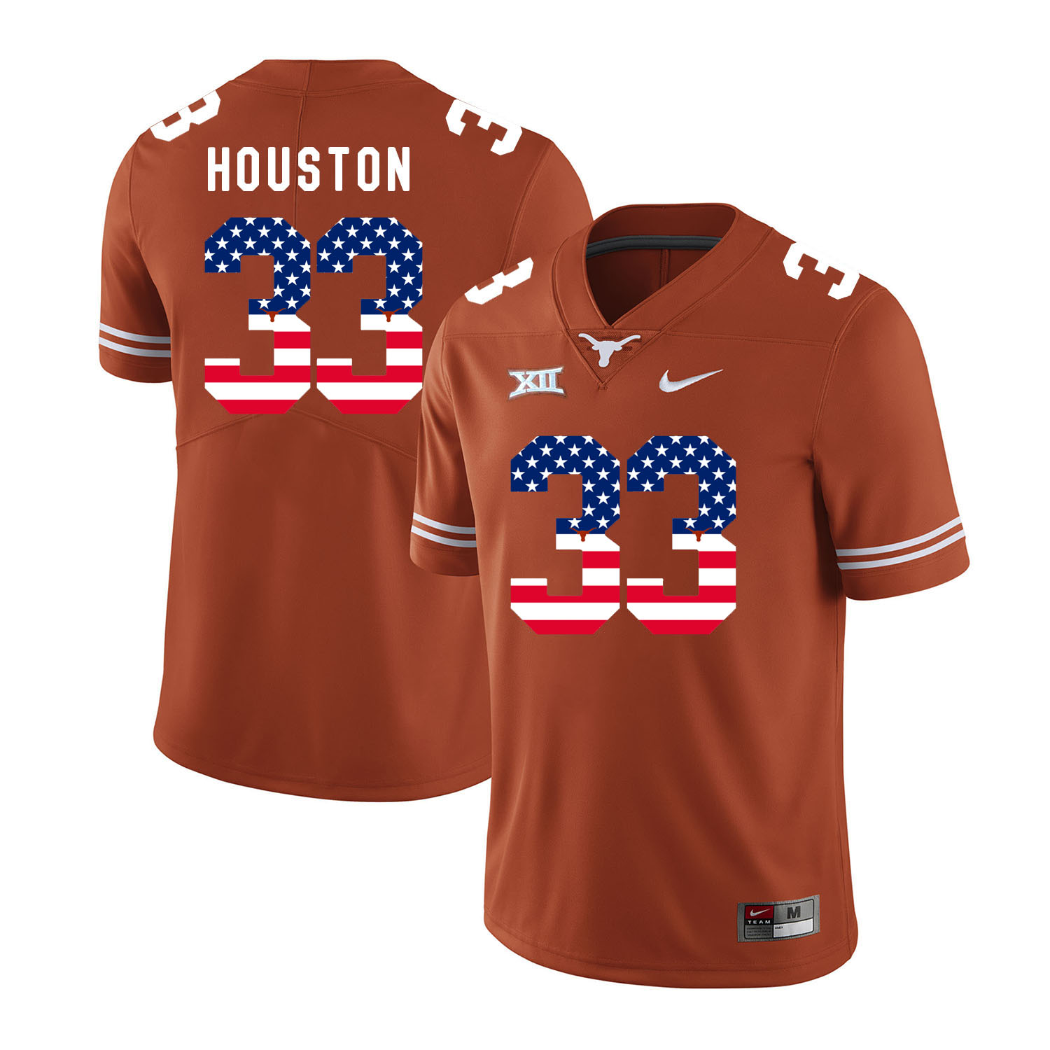 Texas Longhorns 33 Lamarr Houston Orange USA Flag Nike College Football Jersey