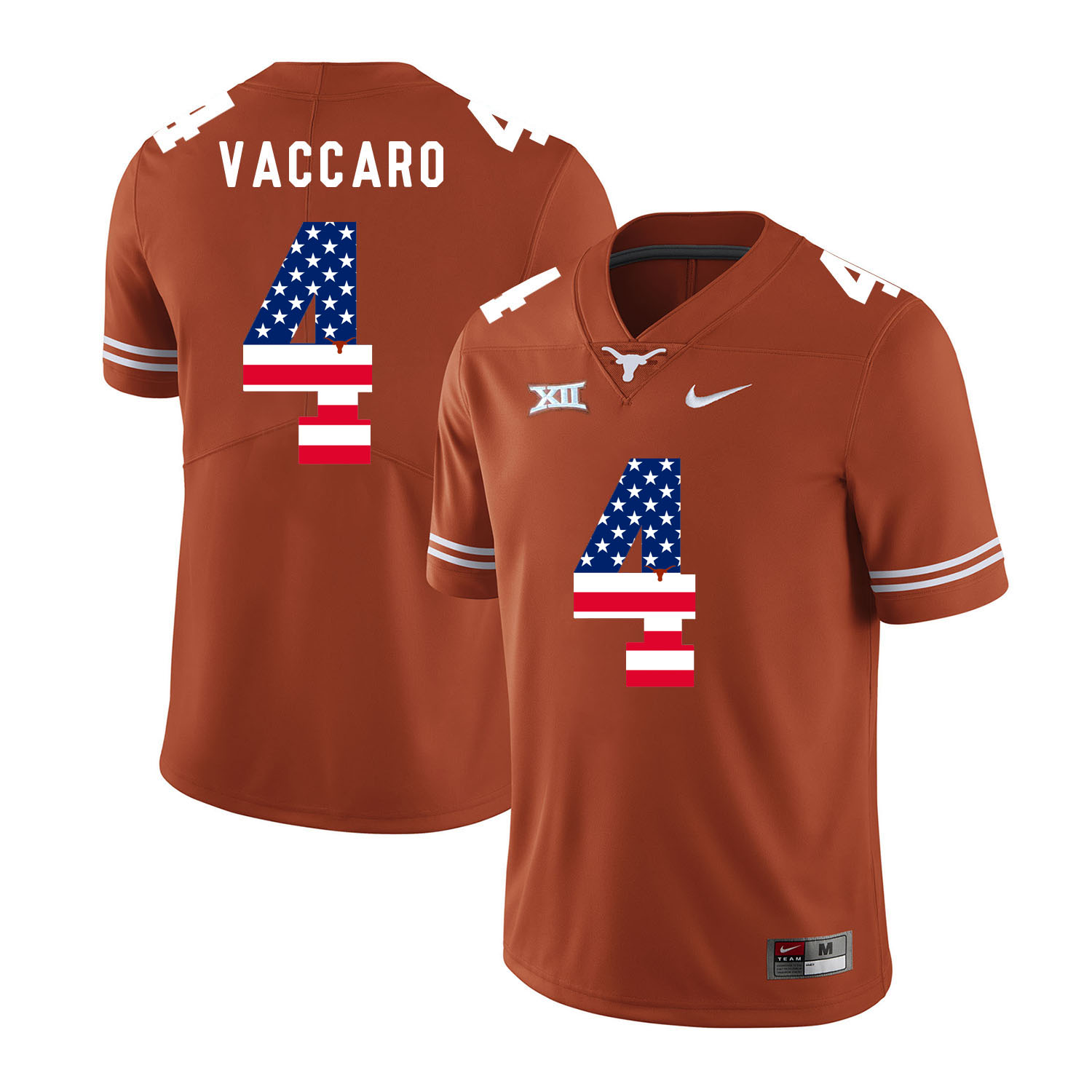 Texas Longhorns 4 Kenny Vaccaro Orange USA Flag Nike College Football Jersey