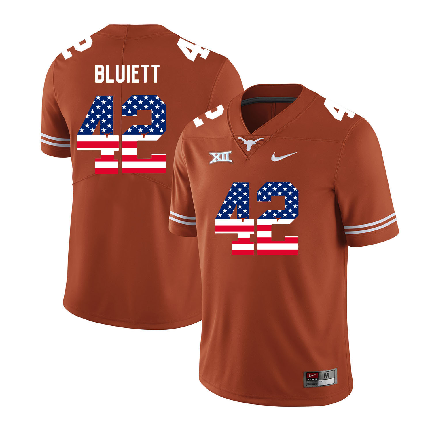 Texas Longhorns 42 Caleb Bluiett Orange USA Flag Nike College Football Jersey