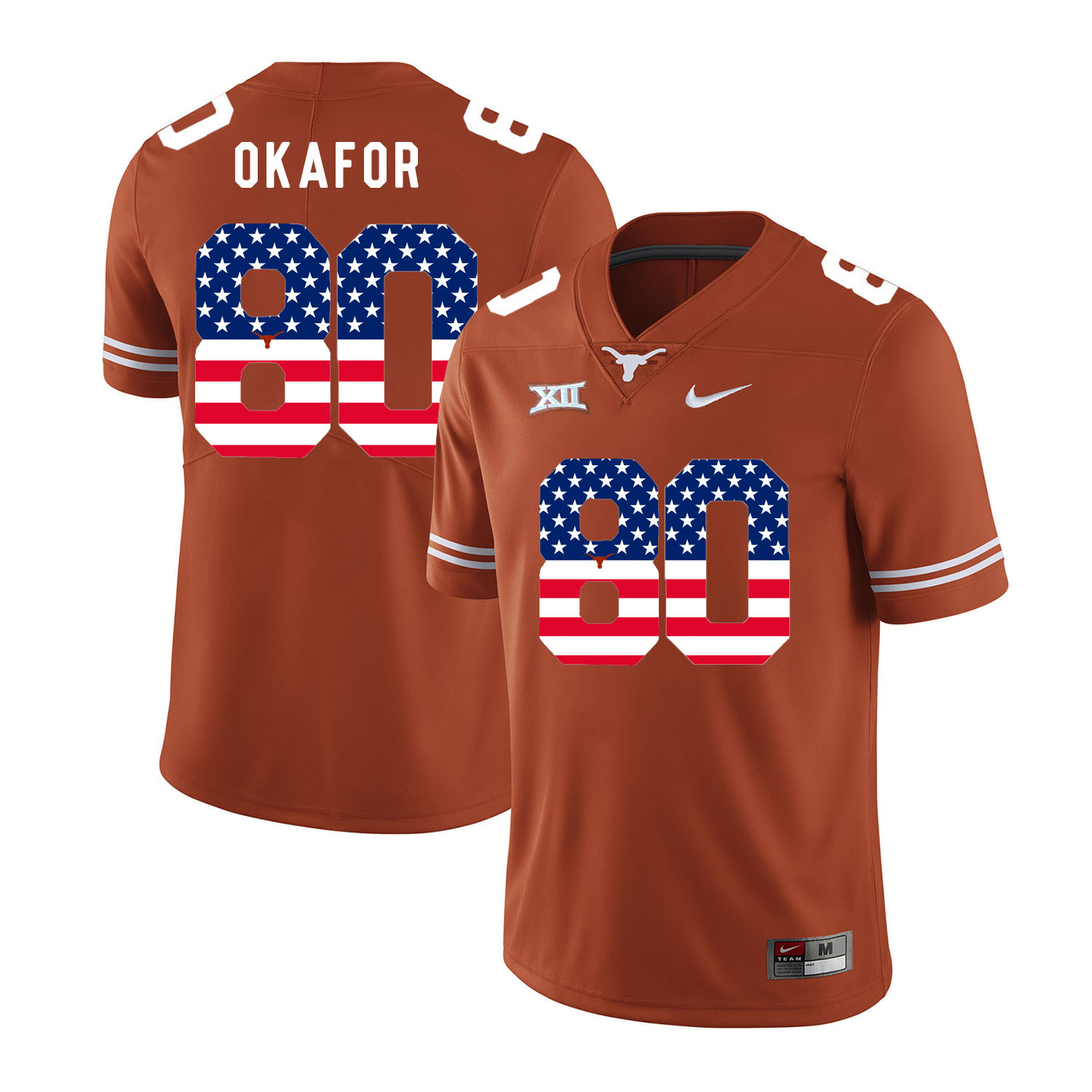 Texas Longhorns 80 Alex Okafor Orange USA Flag Nike College Football Jersey