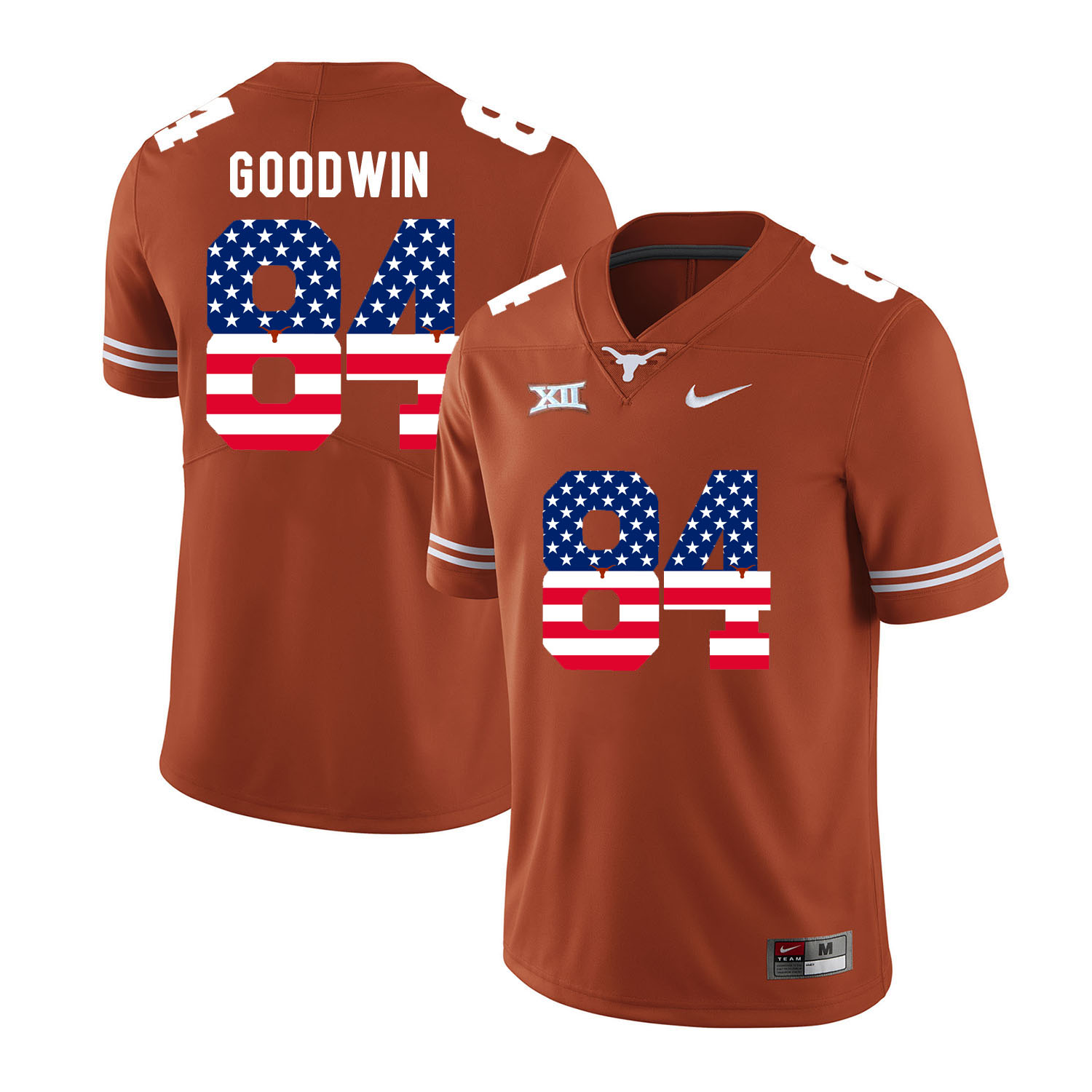 Texas Longhorns 84 Marquise Goodwin Orange USA Flag Nike College Football Jersey