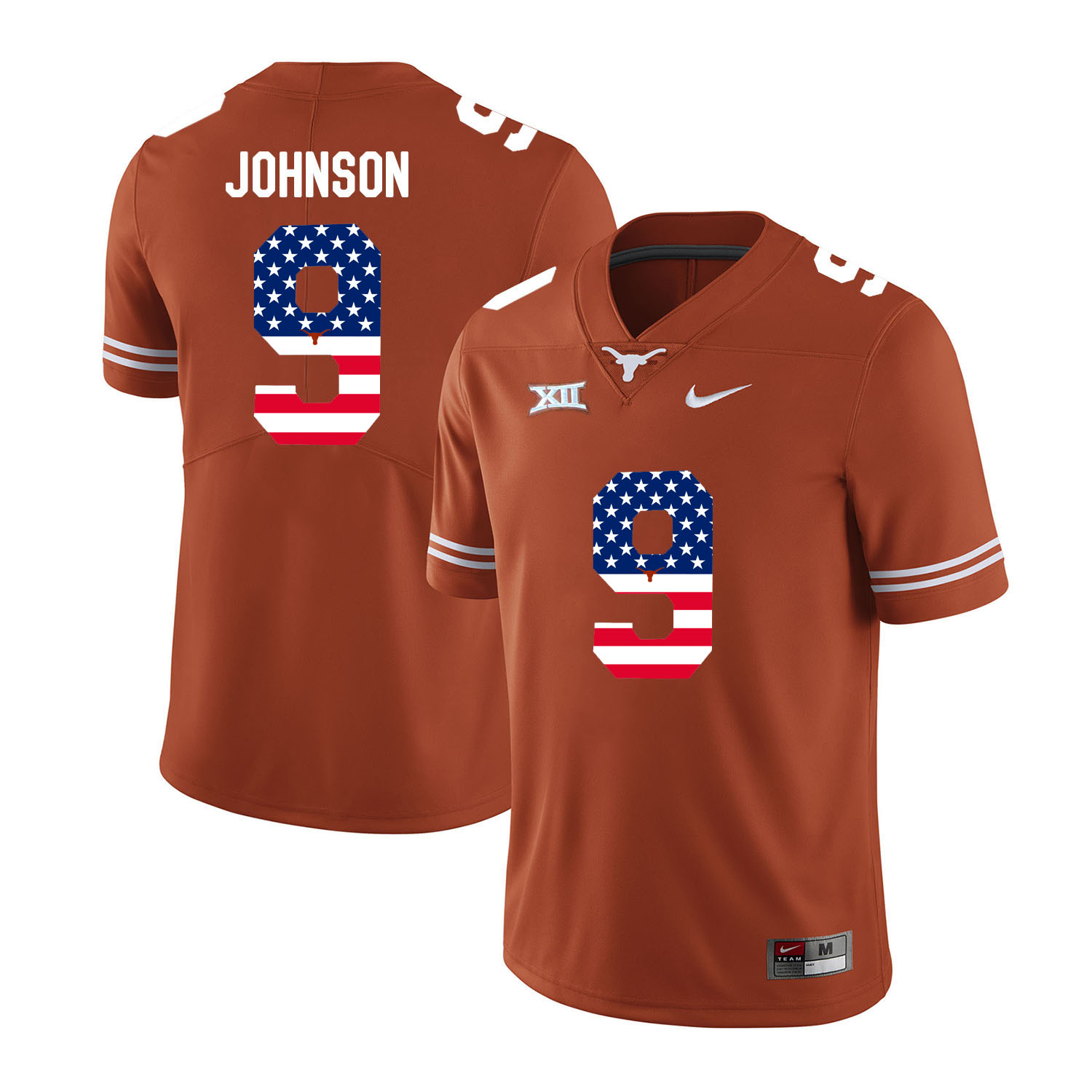 Texas Longhorns 9 Collin Johnson Orange USA Flag Nike College Football Jersey