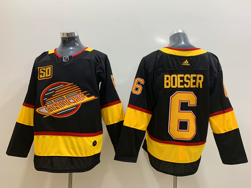Canucks 6 Brock Boeser Black 50th Season Adidas Jersey