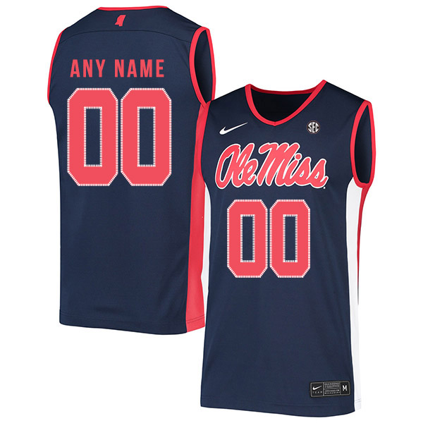 Ole Miss Rebels Customized Navy Nike Basketball College Jersey