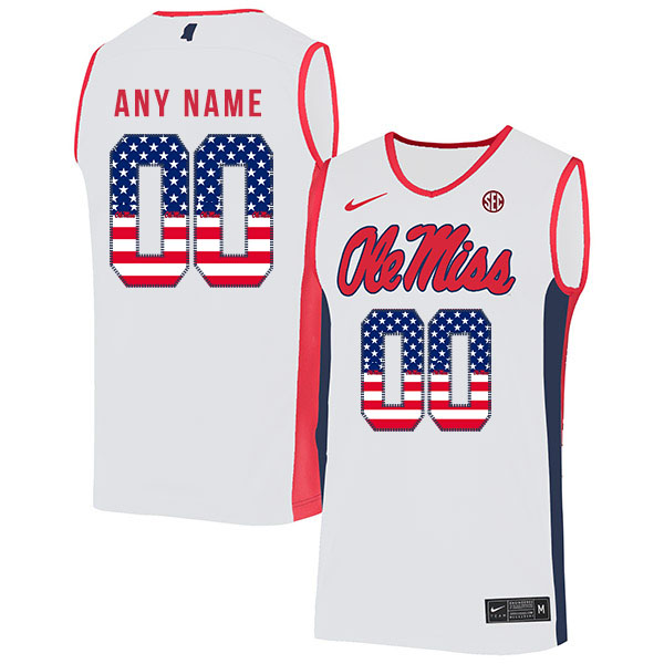 Ole Miss Rebels Customized White USA Flag Nike Basketball College Jersey