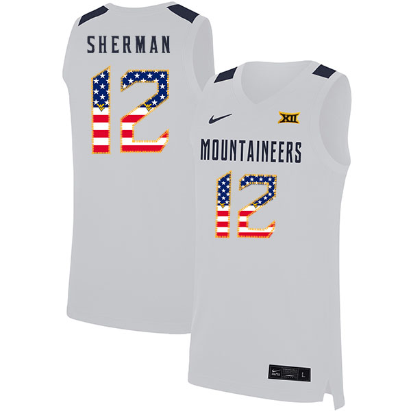 West Virginia Mountaineers 12 Taz Sherman White USA Flag Nike Basketball College Jersey