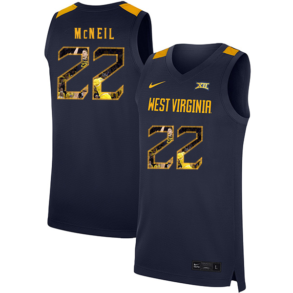 West Virginia Mountaineers 22 Sean McNeil Navy Fashion Nike Basketball College Jersey