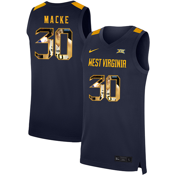 West Virginia Mountaineers 30 Spencer Macke Navy Fashion Nike Basketball College Jersey