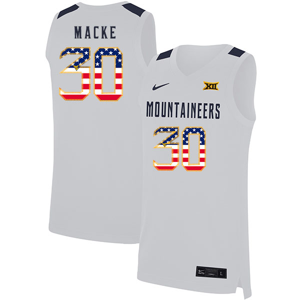 West Virginia Mountaineers 30 Spencer Macke White USA Flag Nike Basketball College Jersey