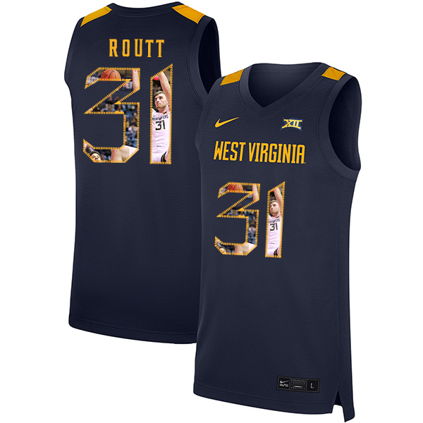 West Virginia Mountaineers 31 Logan Routt Navy Fashion Nike Basketball College Jersey