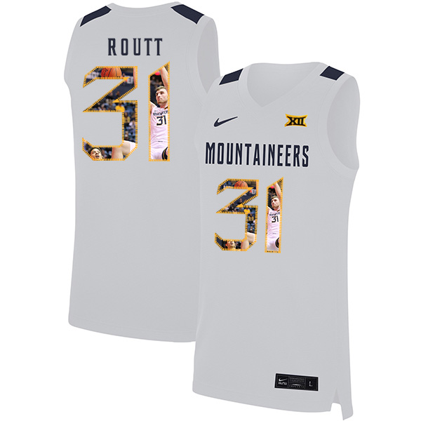 West Virginia Mountaineers 31 Logan Routt White Fashion Nike Basketball College Jersey