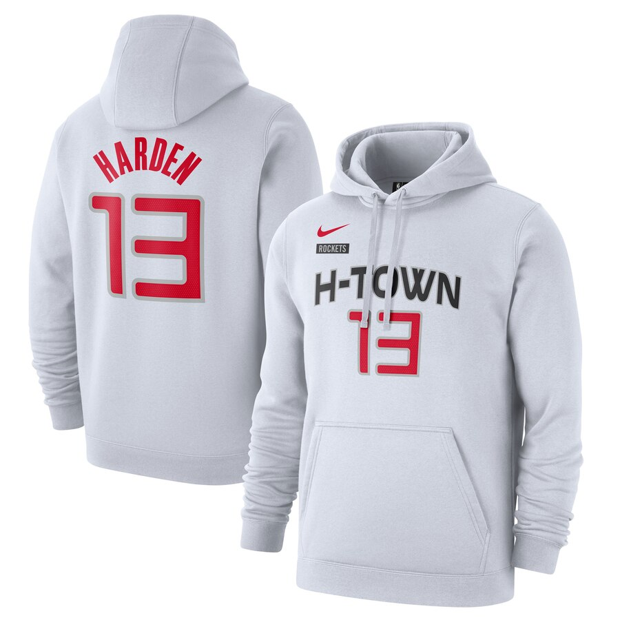 Houston Rockets 13 James Harden Nike 2019-20 City Edition Name & Number Pullover Hoodie White