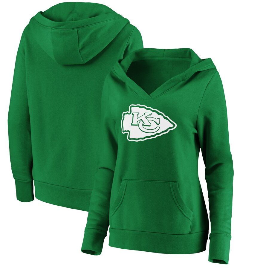 Kansas City Chiefs NFL Pro Line by Fanatics Branded Women's St. Patrick's Day White Logo Pullover Hoodie Green.jpeg