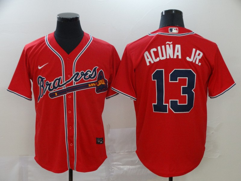 Braves 13 Ronald Acuna Jr. Red 2020 Nike Cool Base Jersey