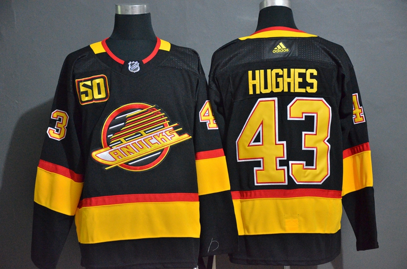 Canucks 43 Quinn Hughes Black 50th Season Adidas Jersey