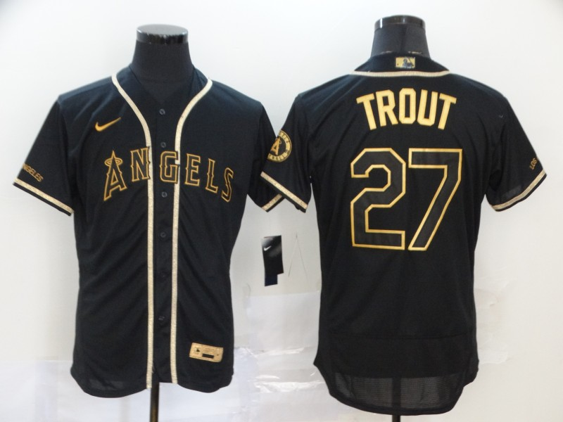 Angels 27 Mike Trout Black Gold 2020 Nike Flexbase Jersey