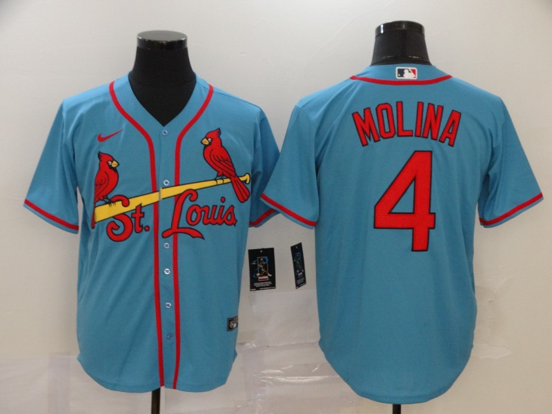 Cardinals 4 Yadier Molina Light Blue 2020 Nike Cool Base Jersey