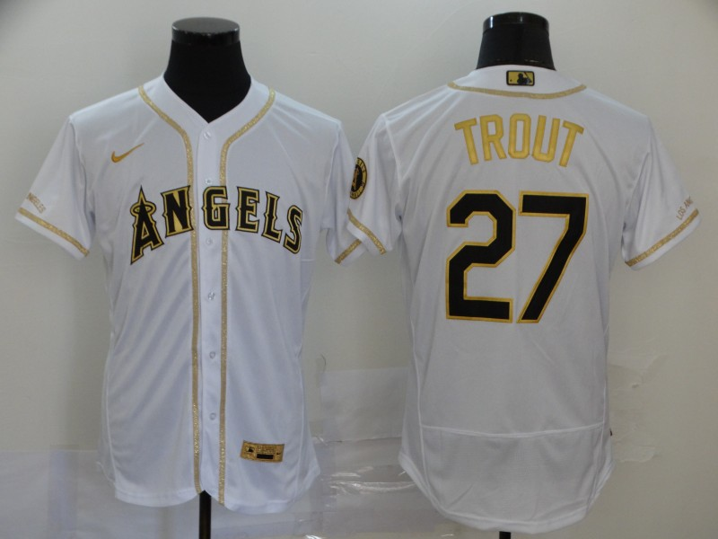 Angels 27 Mike Trout White Gold 2020 Nike Flexbase Jersey