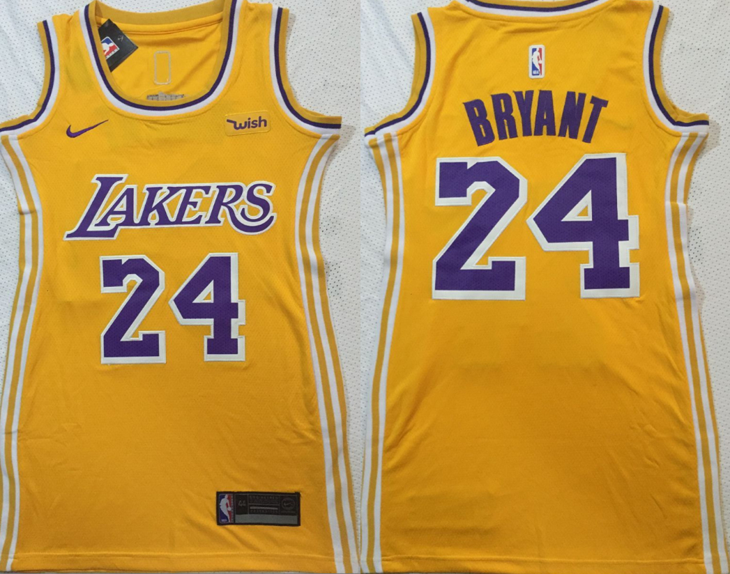 Lakers 24 Kobe Bryant Yellow Women Nike Swingman Jersey