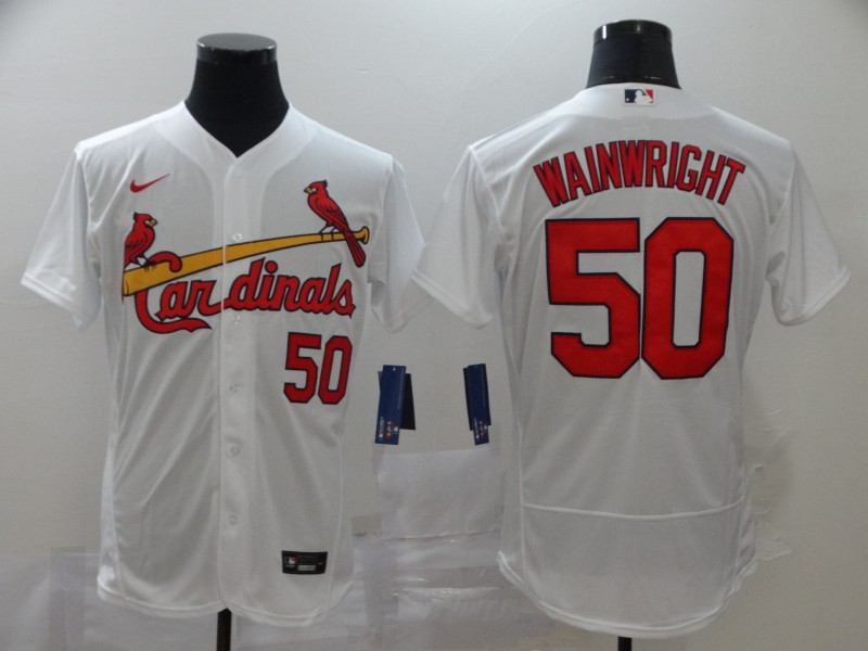 Cardinals 50 Adam Wainwright White 2020 Nike Flexbase Jersey