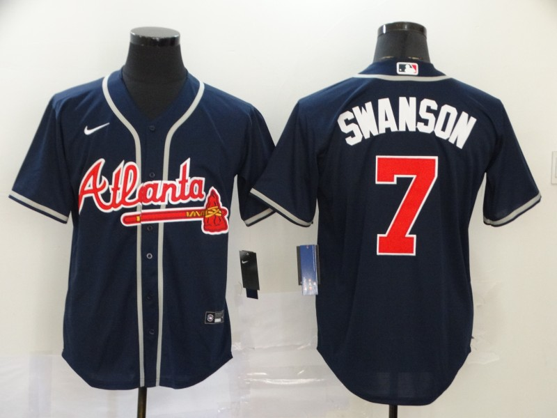 Braves 7 Dansby Swanson Navy 2020 Nike Cool Base Jersey