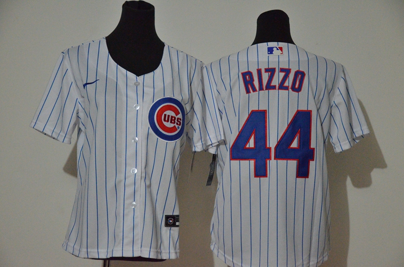 Cubs 44 Anthony Rizzo White Women Nike Cool Base Jersey