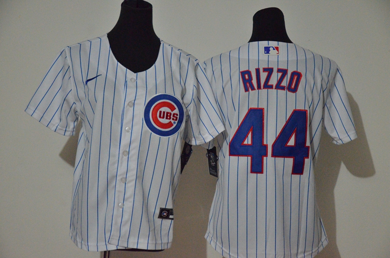 Cubs 44 Anthony Rizzo White Youth Nike Cool Base Jersey