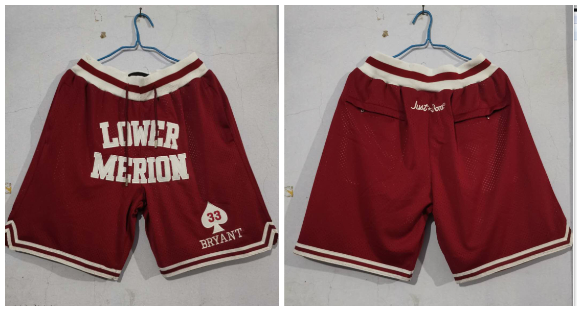 Lower Merion Aces 33 Kobe Bryant Red Just Don With Pocket High School Mesh Shorts
