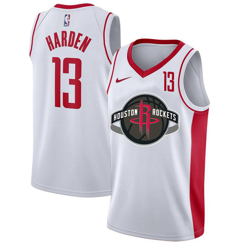 Rockets 13 James Harden White Nike City Edition Number Swingman Jersey